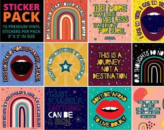 Ultimate Sticker Pack // Premium Vinyl Stickers for Water bottle, Notebook, Laptops, Friends, Kids, Mental Health // Quotable Sticker Pack