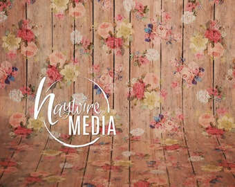 Old Rustic Wood Flower Wall, JPG Photography Background, Texture Digital Download