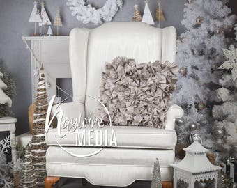 Baby, Toddler, Child, White Winter Chair Photography Digital Backdrop Prop for Photographers, Christmas Studio Portrait, JPG Download