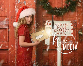 Baby, Toddler, Child, Christmas North Pole Letter Mailbox - JPG Photography Digital Backdrop for Photographers - Instant JPG Download