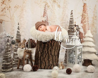 Newborn, Baby, Toddler, Child, White Winter Trees and Reindeer Photography Digital Backdrop Prop for Photographers - Christmas Portrait