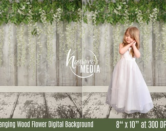 Children's Wisteria Sinensis White Flowers on Wood Photography Background, JPG Digital Download, Kid's Easter Spring Wedding Portrait