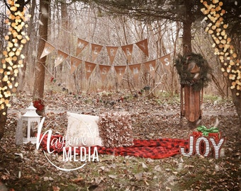 Child, Family Winter Merry Christmas Outdoor Photography Digital Backdrop Prop for Photographers - Nature Family Portrait JPG