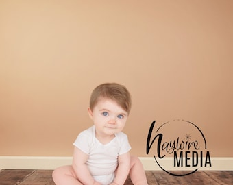 Baby, Toddler, Child Photography Digital Backdrop for Photographers - Wood Floor Digital Backdrop with Brown Wall - Instant Download