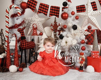 Baby, Toddler, Child, White and Red Plaid Winter Christmas Tree Star Photography Digital Backdrop Prop for Photographers, Studio JPG