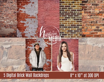 5 Brick Wall Digital Backdrops Photos - Grunge Backdrop Texture - Senior Portrait Background - Instant Download
