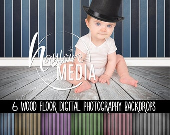 Model, Baby, Child Old Wood Floor and Texture Lined Wall Photography Digital Backdrop for Photographers - Instant Download