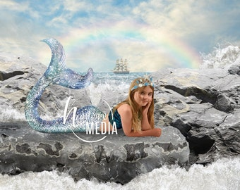 Children's Mermaid Ocean Digital Backdrop Background, Kid's Pirate Water Photography Background Prop for Photographers, JPG Instant Download