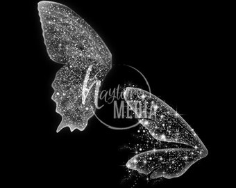 2 Transparent PNG Beautiful Child Fairytale Butterfly Fairy White Sparkle Wings Photo Overlay Prop for Photographers -  Instant Download