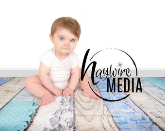 Baby, Toddler, Child Photography Digital Backdrop for Photographers - Blue Wood Floor Digital Backdrop with White Wall Instant Download