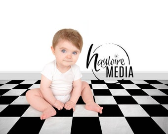 Tiled Photography Digital Backdrop for Photographers - Checkered Floor Digital Backdrop with White and Black Wall - Instant Download