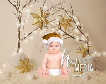 Newborn, Baby, Toddler, Child, Gold Christmas Star Sparkle Lights Photography Digital Backdrop Prop for Photographers - In 2 Sizes