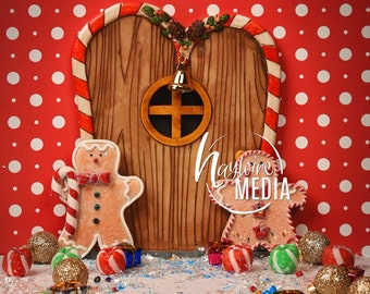 Baby, Toddler, Child, Gingerbread House Scene with Door and Candy - Digital Backdrop for Christmas Photo Background - Holiday Portrait Idea