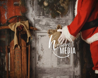 Baby, Toddler, Child, Christmas Santa Clause By Old Door Giving Present - JPG Photography Digital Backdrop Prop for Photographers