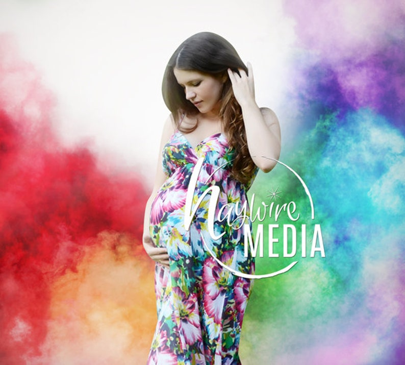 fb2e6c0ab5 Rainbow Baby Pregnancy Photo Scene in Studio with Colorful