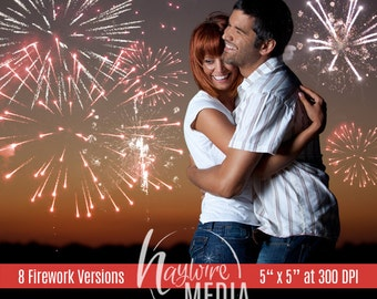 Photography Romantic Fireworks Display Pack in 8 Versions - Insert in Photo as Overlay Effect