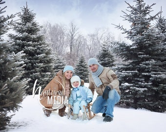 Child, Adult, Family Outdoor Winter Snow Trees Photography Digital Backdrop Prop for Photographers in 2 Sizes - Nature Family Portrait JPG