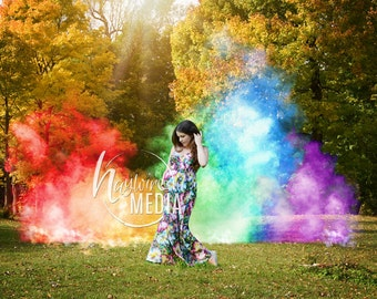 Rainbow Baby Pregnancy Photo Scene in the Park with Colorful Smoke Colors, Nature Photography Digital Backdrop Background, Maternity or Baby