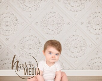 Baby, Toddler, Child Photography Antique Digital Backdrop for Photographers - Wood Floor Background with White Tiled Wall Instant Download