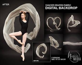 Ballet Dancer Studio Portrait White Drapes Fabric JPG Digital Background, Children or Teens Senior School Backdrop Photo, Insant Download
