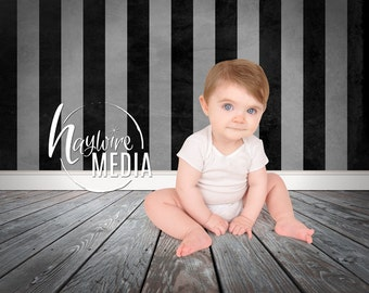 Baby, Toddler, Child Photography Digital Backdrop for Photographers - Wood Floor Background - Black and White Striped Wall Instant Download