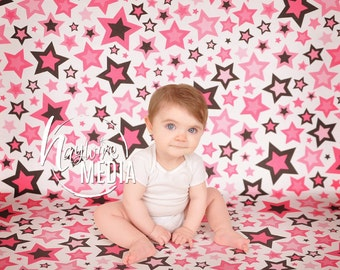 Baby, Toddler, Child Photography Digital Backdrop for Photographers - Blue and Pink Stars Floor and Wall Digital Backdrop - Instant Download