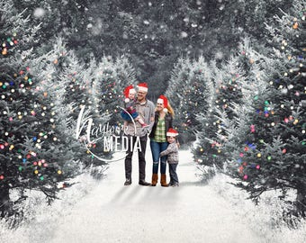 Child, Adult, Family Outdoor Winter Christmas Snow Trees Photography Digital Backdrop Prop for Photographers - Nature Family Portrait JPG