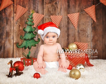 Newborn, Baby, Toddler, Child, Christmas Tree with Present Photography Digital Backdrop Prop for Photographers