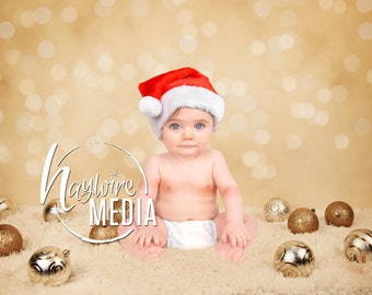 Newborn, Baby, Toddler, Child, Gold Christmas Sparkle Lights Photography Digital Backdrop Prop for Photographers