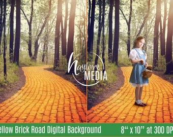 Children's Wizard of Oz Yellow Brick Road Digital Backdrop - Children's Halloween Portrait - Fairy Tale Background - JPG Intsant Download