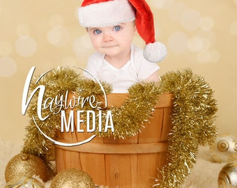 Newborn, Baby, Toddler, Child, Gold Christmas Wooden Basket Sparkle Lights Photography Digital Backdrop Prop for Photographers - PNG Layer