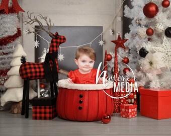 Newborn, Baby, Toddler, Child, White Christmas Basket Photography Digital Backdrop Prop for Photographers, JPG Digital Background