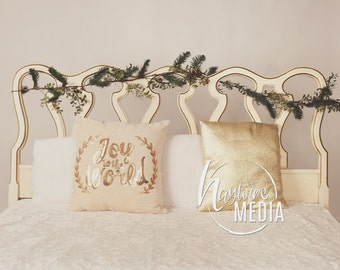 Baby, Toddler, Child, White Bed Headboard Christmas Background with Wreath - Photography Digital Backdrop Prop for Photographers - JPG