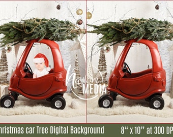 Winter Holiday Christmas Tree - Little Car Children's Portrait in Studio for Photographers - Digital JPG Backdrop - PNG Coverup Layer
