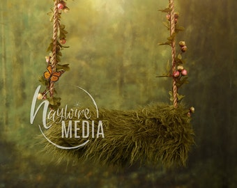 Newborn Baby Toddler Child Rope Swing with Bed - Girl's Portrait Digital Backdrop - Photography Background - Swing Photo Prop - JPG