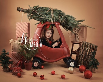 Baby, Child, Kid's Winter Holiday Christmas Tree Car Children's Portrait in Studio for Photographers - Digital JPG Backdrop - Coverup Layer