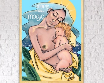 "Surreal Digital Painting - ""Moms Are Magic"" - Fine Art Print"