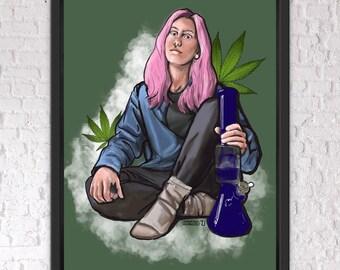 "Surreal Digital Painting - ""Stoner Babe"" - Fine Art Prints"