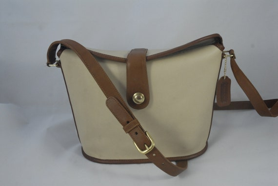 Vintage Coach Binocular Bag in White and Brown Spe