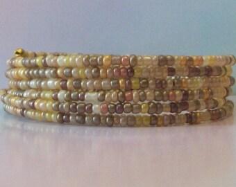 MW-104 - Brown Glass Memory Wire Bracelet