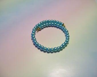 MW75 - Single Wrap Glass Pearl Beaded Memory Wire Bracelet in Choice of Light Blue, Dark Purple, Light Purple, Peach, or Light Pink