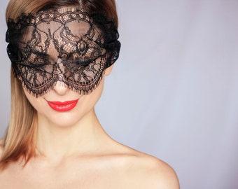 Unisex Night Hen Party Wear UK Soft Pad Inside Black Lace Eye Mask Blind Fold
