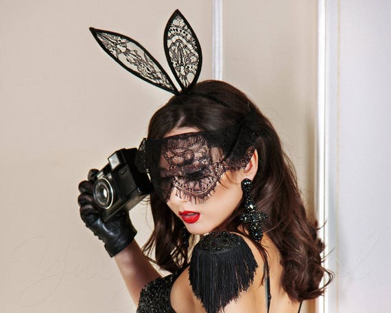 Lovely Black Lace Bunny Ears Black Mask Headband Decor Fashion Gift