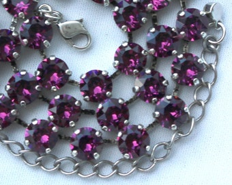 February Birthstone Necklace - 8mm Purple Amethyst Swarovski Crystal Necklace