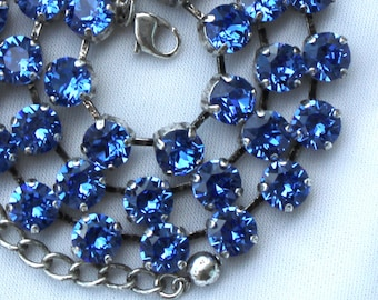September Birthstone Necklace - 8mm Blue Sapphire Swarovski Crystal Necklace