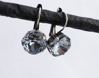 Silver Night 12mm Cushion Cut Swarovski Crystal Drop Earrings - Antique Silver, Antique Brass, and Black Metal Finishes Available (Gray)