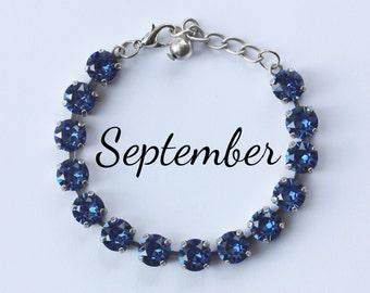 September Birthstone Bracelet - 8mm Blue Sapphire Swarovski Crystal Bracelet