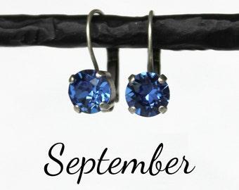 September Birthstone Drop Earrings - 8mm Blue Sapphire Swarovski Crystal Earrings