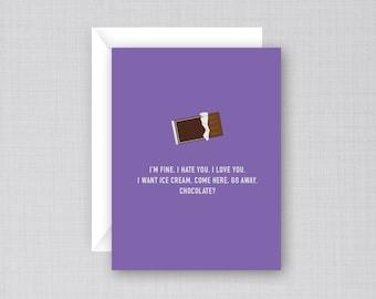 Funny Period Card | Funny PMS Card | Chocolate Bar Card