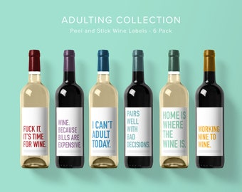 Adulting Wine Label Collection | Wine Label 6 Pack | Funny Wine Labels | Wine Label | Wine Bottle